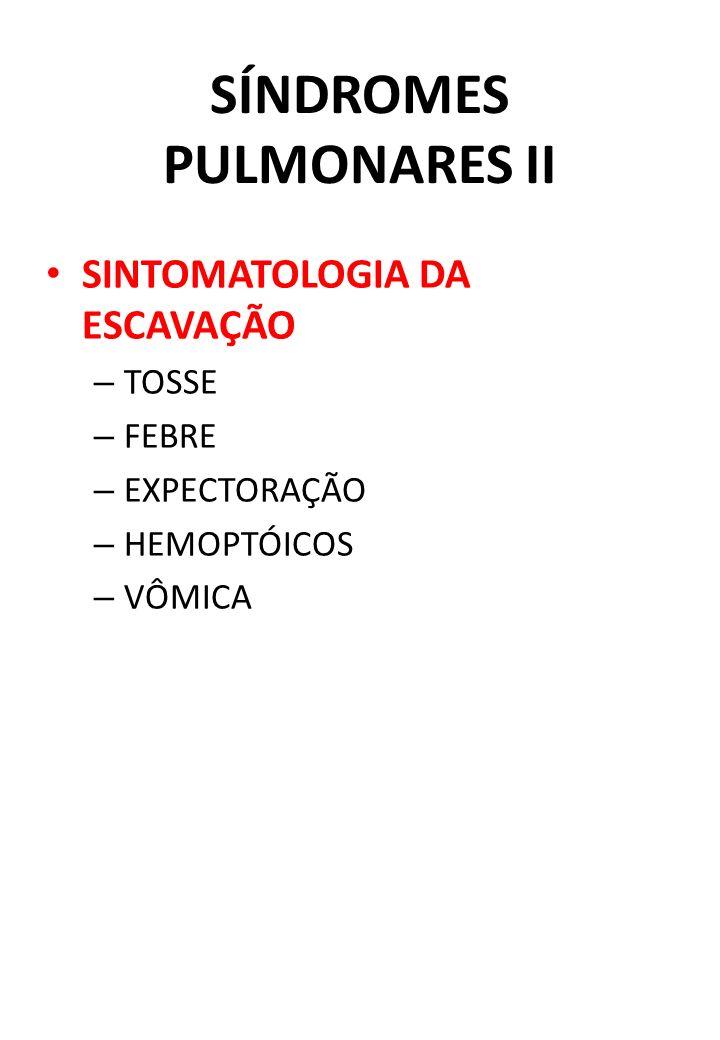 SÍNDROMES PULMONARES II SINTOMATOLOGIA DA ESCAVAÇÃO – TOSSE – FEBRE – EXPECTORAÇÃO – HEMOPTÓICOS – VÔMICA