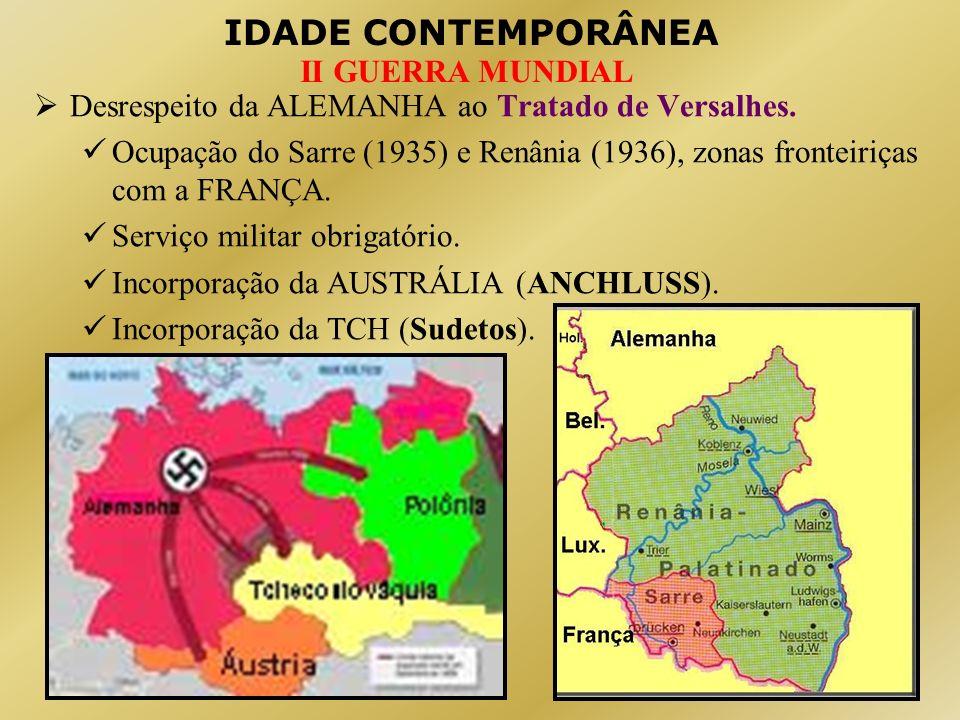 IDADE CONTEMPORÂNEA II GUERRA MUNDIAL Desrespeito da ALEMANHA ao Tratado de Versalhes. Ocupação do Sarre (1935) e Renânia (1936), zonas fronteiriças c