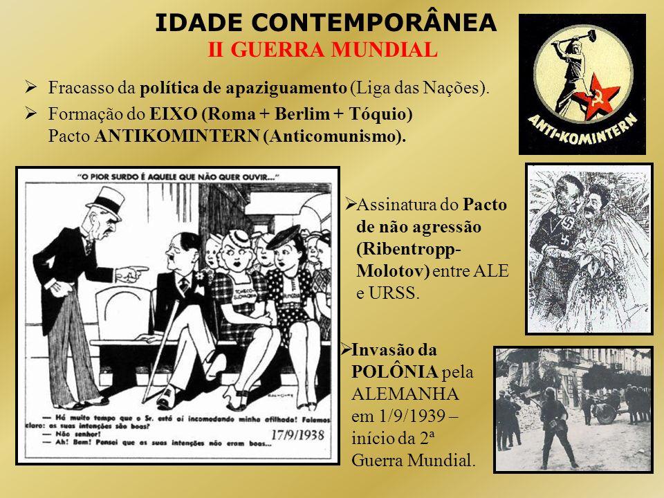 IDADE CONTEMPORÂNEA II GUERRA MUNDIAL Fracasso da política de apaziguamento (Liga das Nações). Formação do EIXO (Roma + Berlim + Tóquio) Pacto ANTIKOM