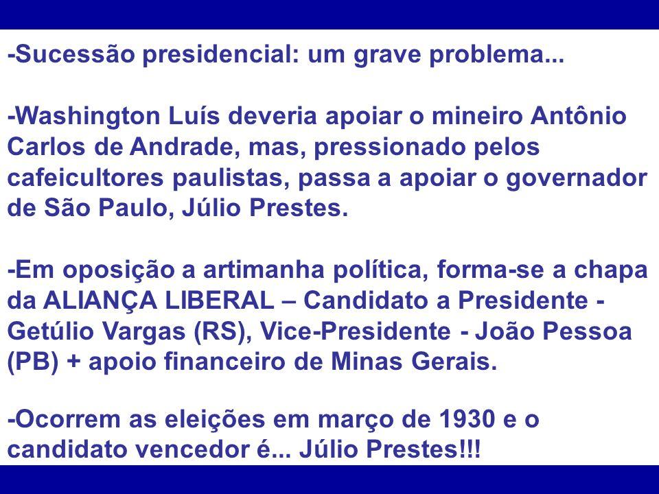-Sucessão presidencial: um grave problema... -Washington Luís deveria apoiar o mineiro Antônio Carlos de Andrade, mas, pressionado pelos cafeicultores