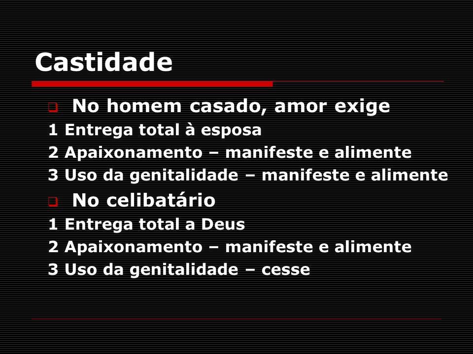 Castidade No homem casado, amor exige 1 Entrega total à esposa 2 Apaixonamento – manifeste e alimente 3 Uso da genitalidade – manifeste e alimente No