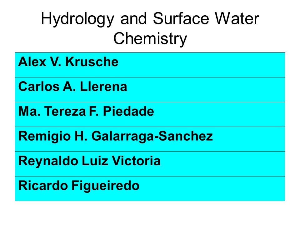 Hydrology and Surface Water Chemistry Alex V. Krusche Carlos A.