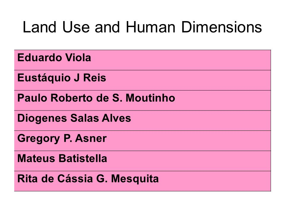 Land Use and Human Dimensions Eduardo Viola Eustáquio J Reis Paulo Roberto de S.