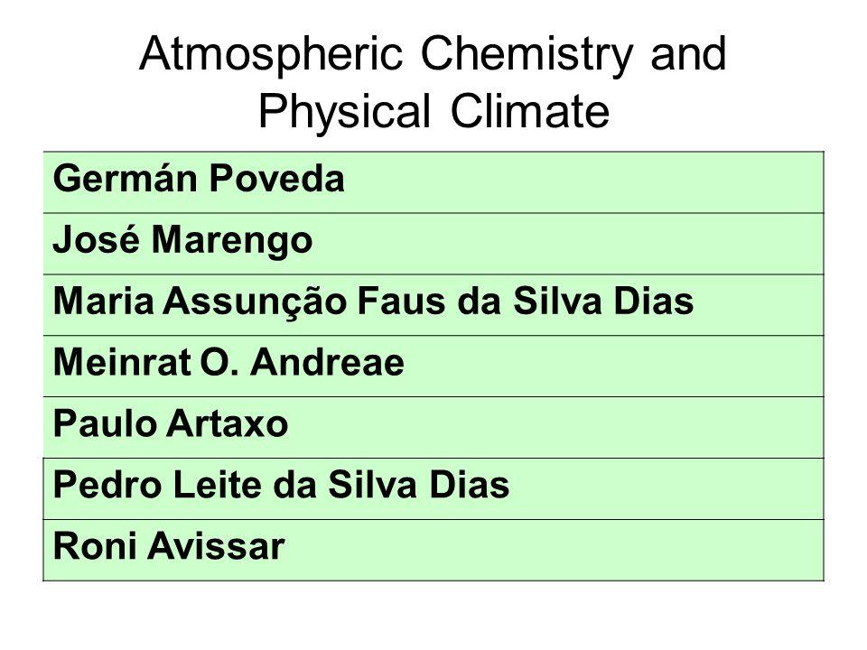 Atmospheric Chemistry and Physical Climate Germán Poveda José Marengo Maria Assunção Faus da Silva Dias Meinrat O.