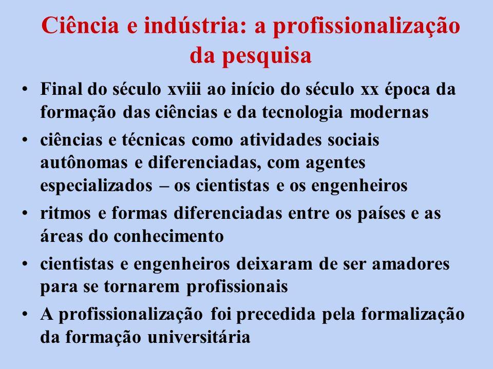 Ciência e indústria: a profissionalização da pesquisa Final do século xviii ao início do século xx época da formação das ciências e da tecnologia mode