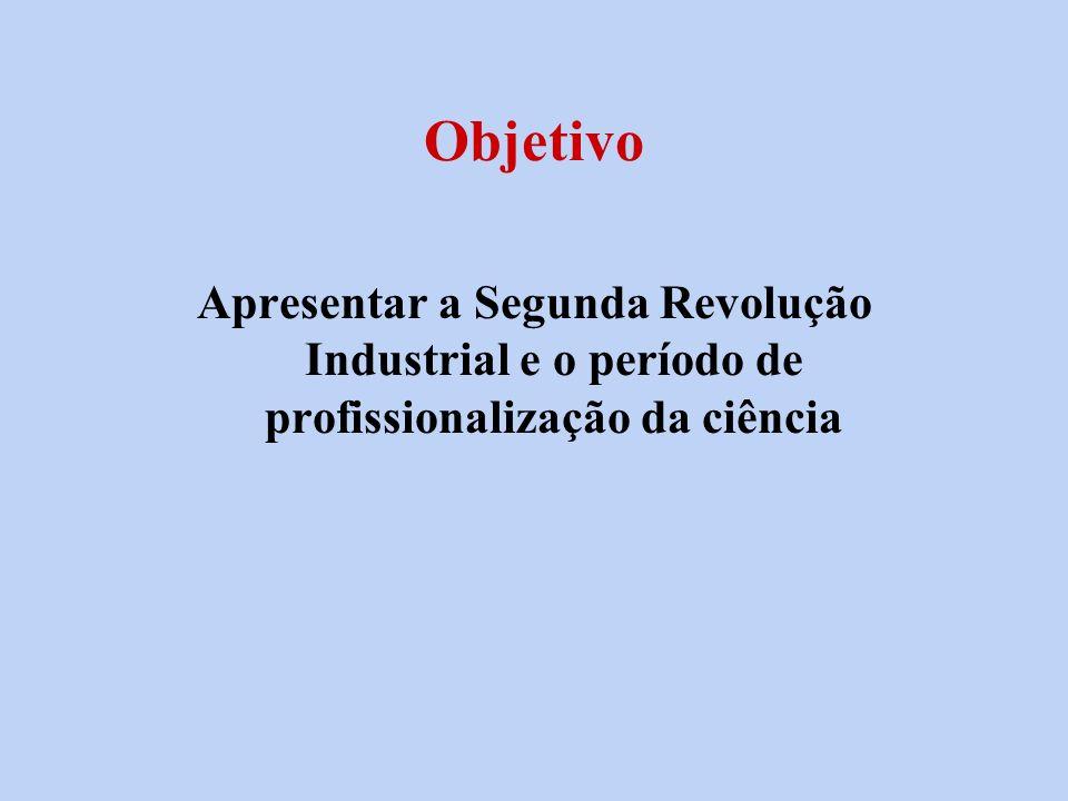Objetivo Apresentar a Segunda Revolução Industrial e o período de profissionalização da ciência