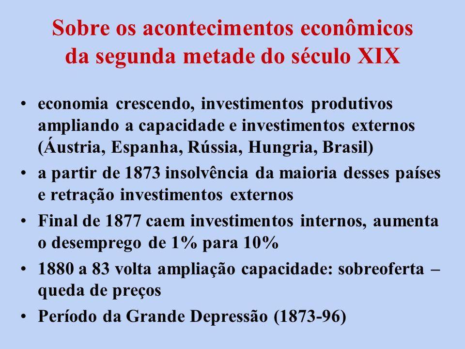 Sobre os acontecimentos econômicos da segunda metade do século XIX economia crescendo, investimentos produtivos ampliando a capacidade e investimentos