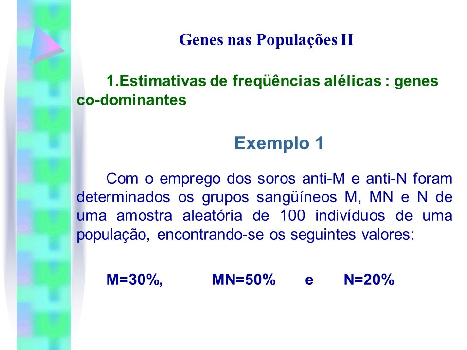 Genes nas Populações II 1.Estimativas de freqüências alélicas : genes co-dominantes Exemplo 1 Com o emprego dos soros anti-M e anti-N foram determinad