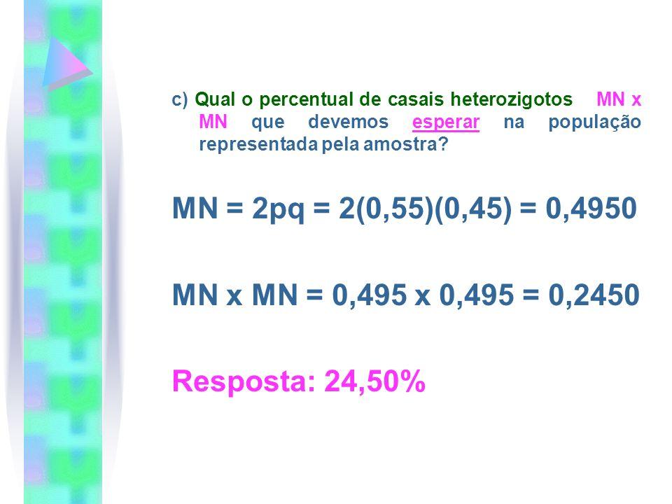 c) Qual o percentual de casais heterozigotos MN x MN que devemos esperar na população representada pela amostra? MN = 2pq = 2(0,55)(0,45) = 0,4950 MN