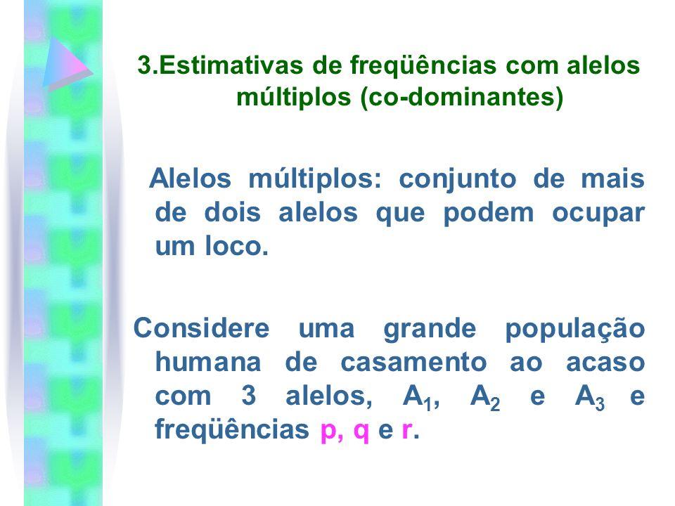 3.Estimativas de freqüências com alelos múltiplos (co-dominantes) Alelos múltiplos: conjunto de mais de dois alelos que podem ocupar um loco. Consider