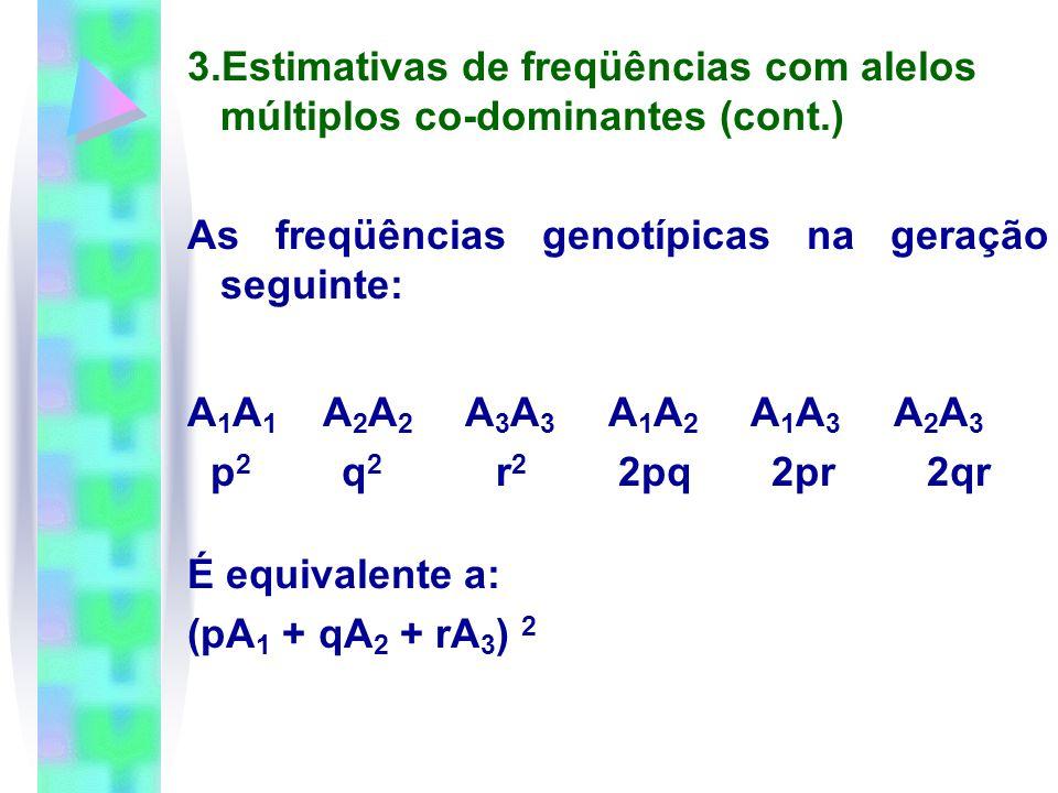 3.Estimativas de freqüências com alelos múltiplos co-dominantes (cont.) As freqüências genotípicas na geração seguinte: A 1 A 1 A 2 A 2 A 3 A 3 A 1 A