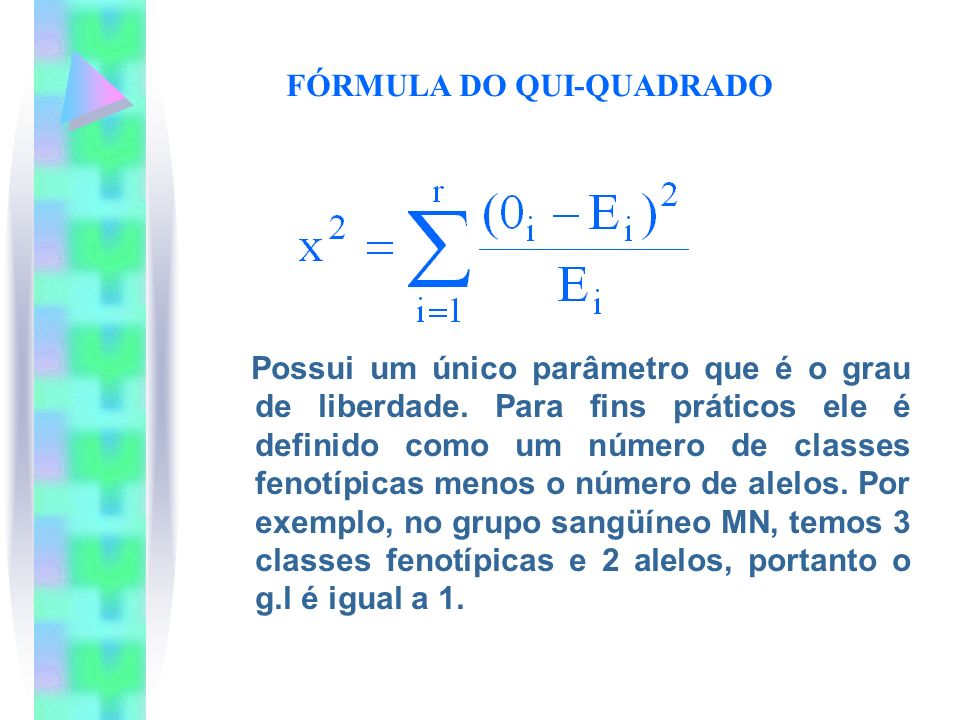 FÓRMULA DO QUI-QUADRADO Possui um único parâmetro que é o grau de liberdade. Para fins práticos ele é definido como um número de classes fenotípicas m