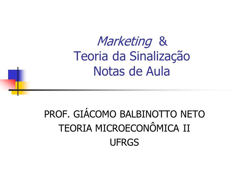 Marketing & Teoria da Sinalização Notas de Aula PROF. GIÁCOMO BALBINOTTO NETO TEORIA MICROECONÔMICA II UFRGS