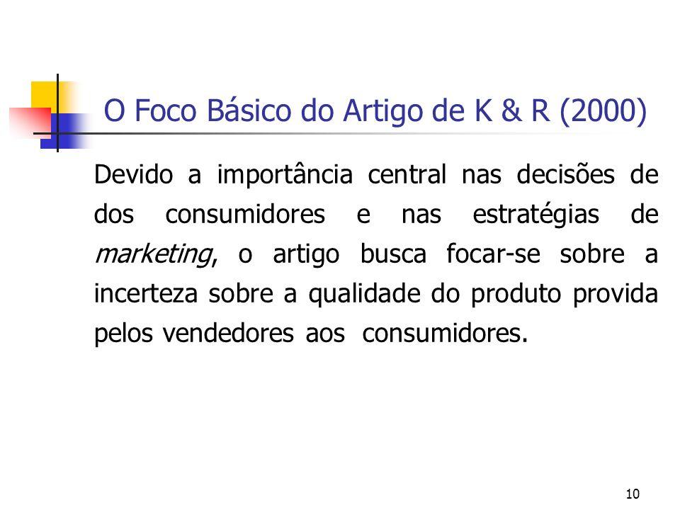 10 O Foco Básico do Artigo de K & R (2000) Devido a importância central nas decisões de dos consumidores e nas estratégias de marketing, o artigo busc