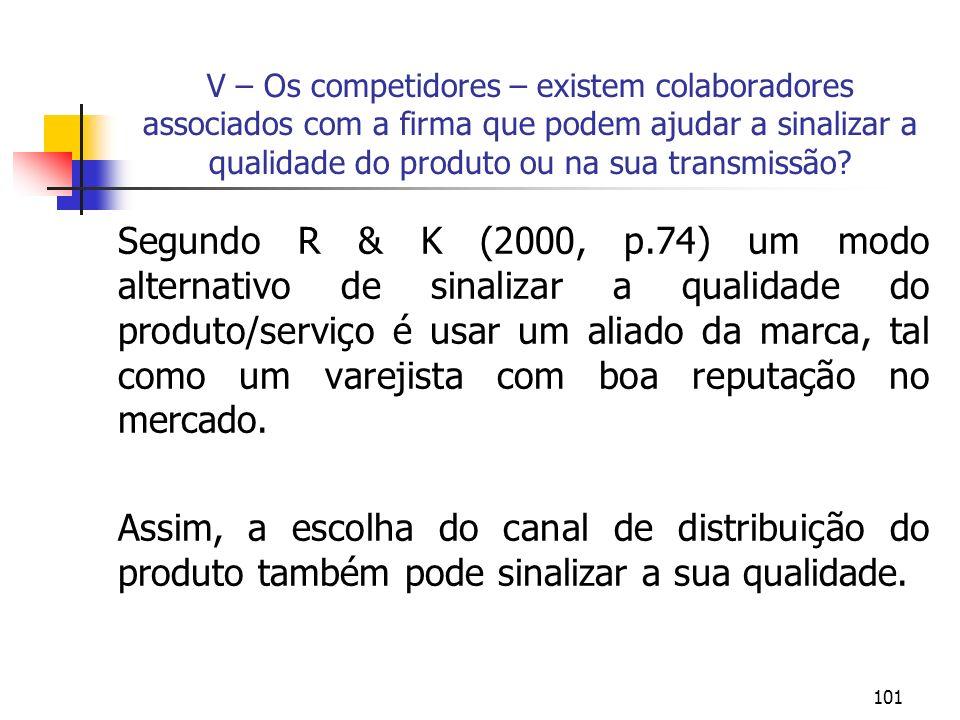 101 V – Os competidores – existem colaboradores associados com a firma que podem ajudar a sinalizar a qualidade do produto ou na sua transmissão? Segu