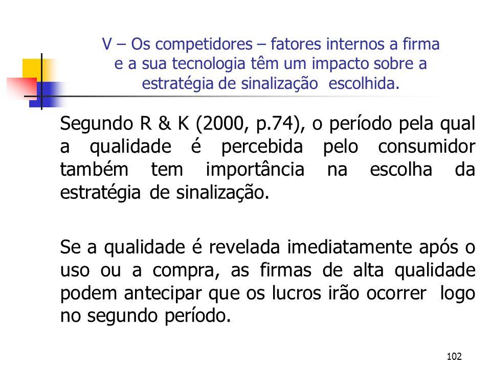 102 V – Os competidores – fatores internos a firma e a sua tecnologia têm um impacto sobre a estratégia de sinalização escolhida. Segundo R & K (2000,