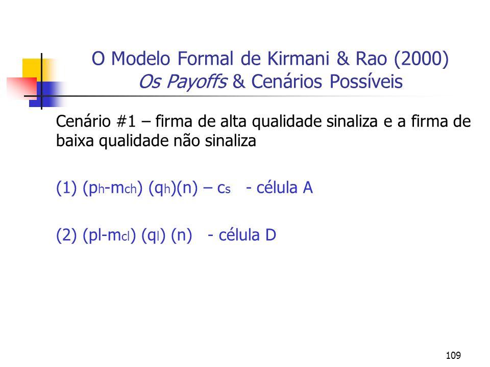 109 O Modelo Formal de Kirmani & Rao (2000) Os Payoffs & Cenários Possíveis Cenário #1 – firma de alta qualidade sinaliza e a firma de baixa qualidade