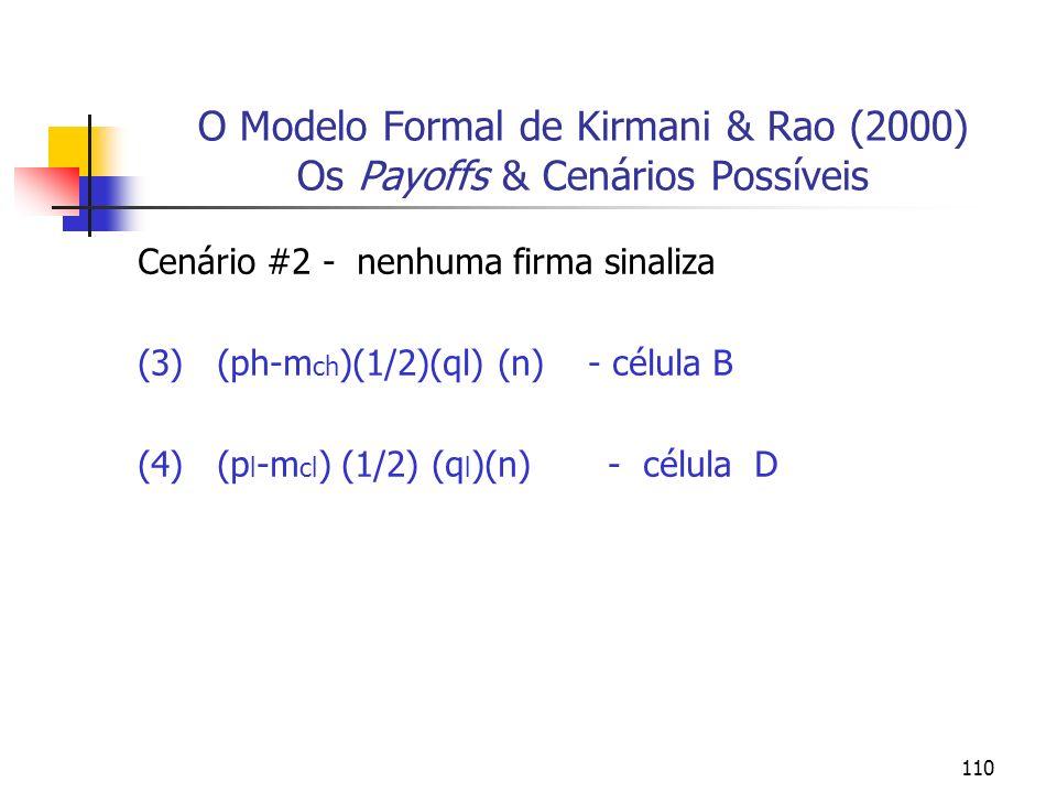 110 O Modelo Formal de Kirmani & Rao (2000) Os Payoffs & Cenários Possíveis Cenário #2 - nenhuma firma sinaliza (3) (ph-m ch )(1/2)(ql) (n) - célula B