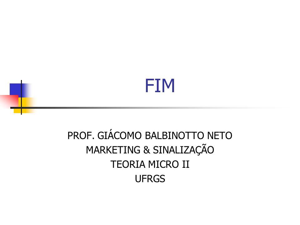 FIM PROF. GIÁCOMO BALBINOTTO NETO MARKETING & SINALIZAÇÃO TEORIA MICRO II UFRGS