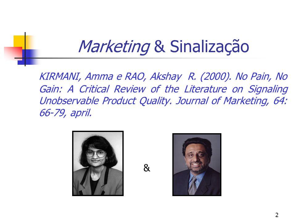 2 Marketing & Sinalização KIRMANI, Amma e RAO, Akshay R. (2000). No Pain, No Gain: A Critical Review of the Literature on Signaling Unobservable Produ