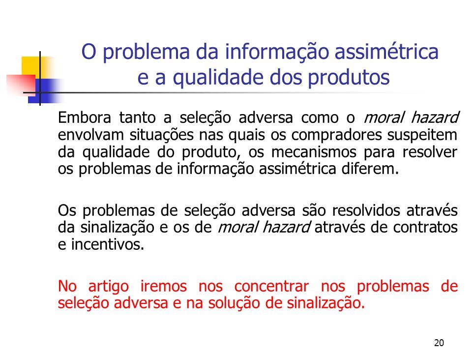 20 O problema da informação assimétrica e a qualidade dos produtos Embora tanto a seleção adversa como o moral hazard envolvam situações nas quais os