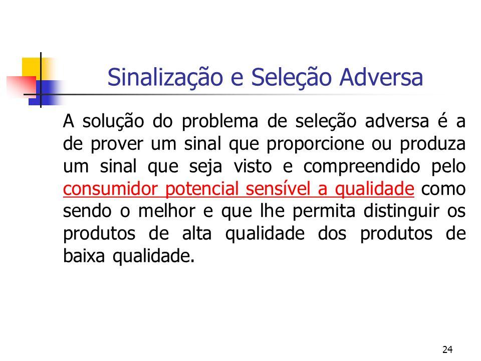 24 Sinalização e Seleção Adversa A solução do problema de seleção adversa é a de prover um sinal que proporcione ou produza um sinal que seja visto e