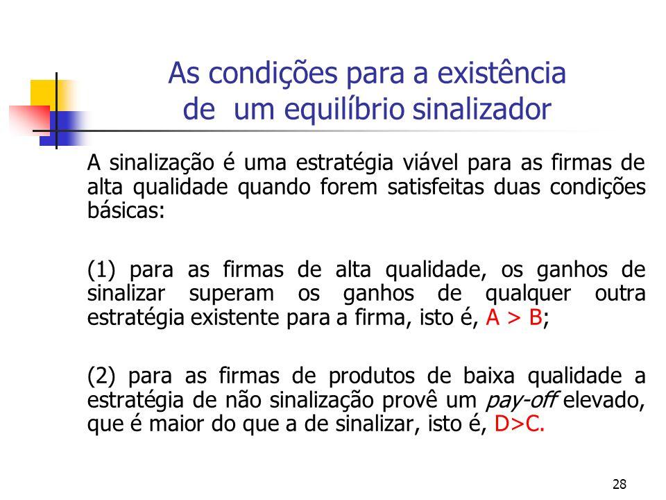 28 As condições para a existência de um equilíbrio sinalizador A sinalização é uma estratégia viável para as firmas de alta qualidade quando forem sat