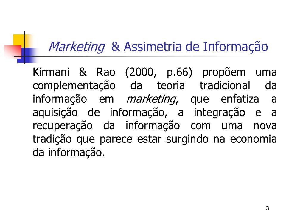 3 Marketing & Assimetria de Informação Kirmani & Rao (2000, p.66) propõem uma complementação da teoria tradicional da informação em marketing, que enf