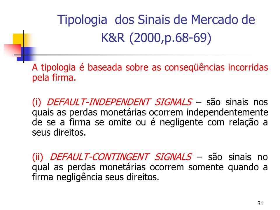 31 Tipologia dos Sinais de Mercado de K&R (2000,p.68-69) A tipologia é baseada sobre as conseqüências incorridas pela firma. (i) DEFAULT-INDEPENDENT S