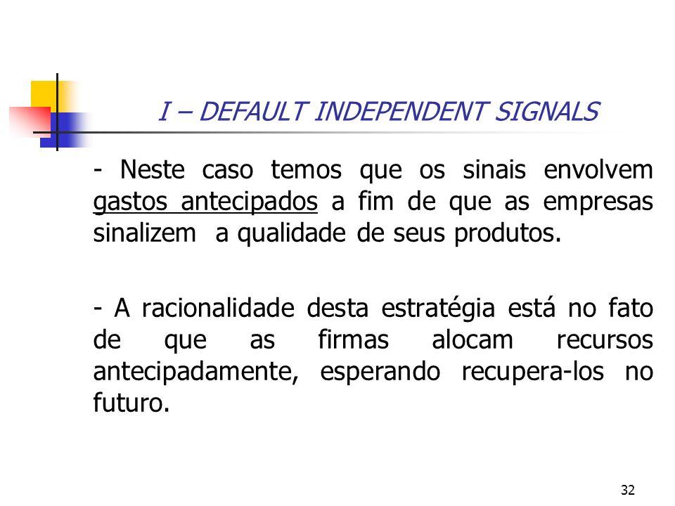 32 I – DEFAULT INDEPENDENT SIGNALS - Neste caso temos que os sinais envolvem gastos antecipados a fim de que as empresas sinalizem a qualidade de seus