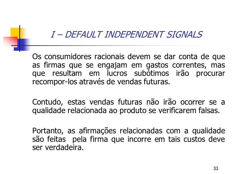 33 I – DEFAULT INDEPENDENT SIGNALS Os consumidores racionais devem se dar conta de que as firmas que se engajam em gastos correntes, mas que resultam