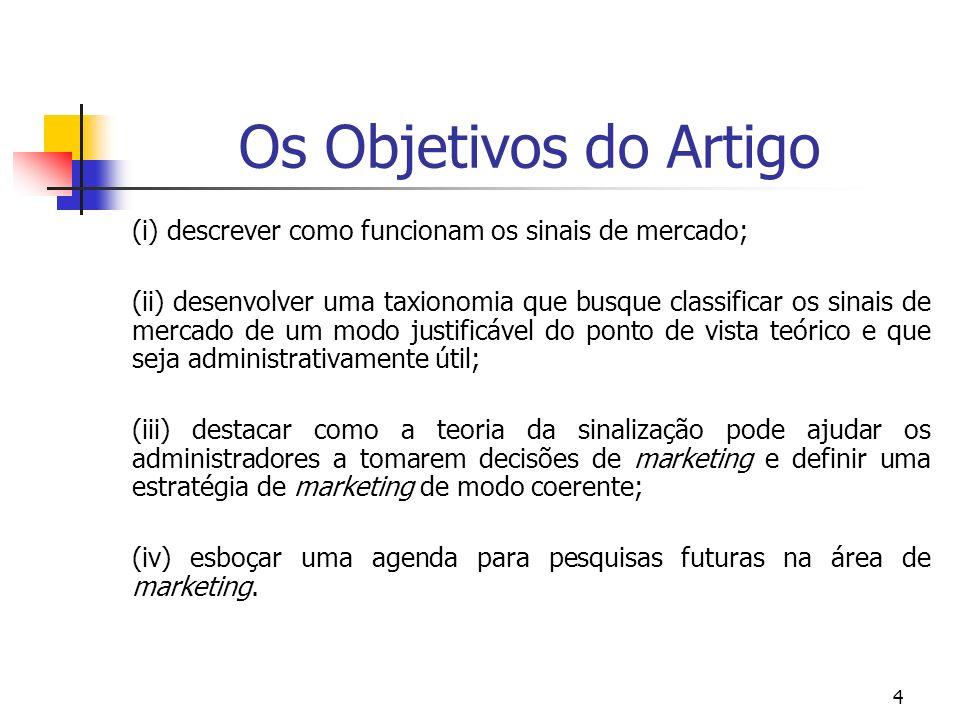 4 Os Objetivos do Artigo (i) descrever como funcionam os sinais de mercado; (ii) desenvolver uma taxionomia que busque classificar os sinais de mercad