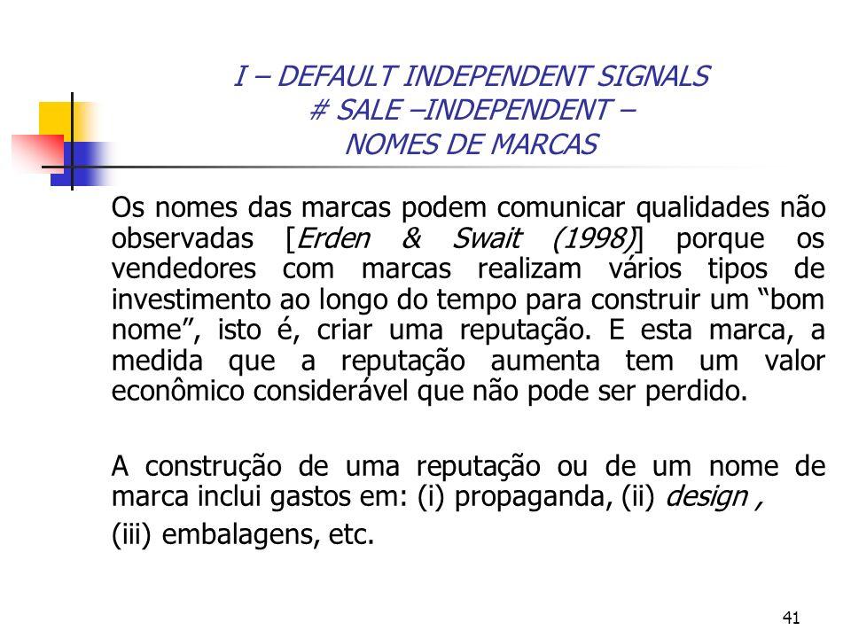 41 I – DEFAULT INDEPENDENT SIGNALS # SALE –INDEPENDENT – NOMES DE MARCAS Os nomes das marcas podem comunicar qualidades não observadas [Erden & Swait