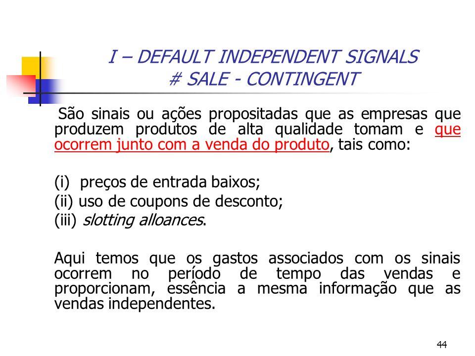 44 I – DEFAULT INDEPENDENT SIGNALS # SALE - CONTINGENT São sinais ou ações propositadas que as empresas que produzem produtos de alta qualidade tomam