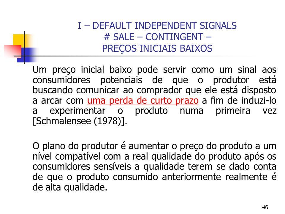 46 I – DEFAULT INDEPENDENT SIGNALS # SALE – CONTINGENT – PREÇOS INICIAIS BAIXOS Um preço inicial baixo pode servir como um sinal aos consumidores pote