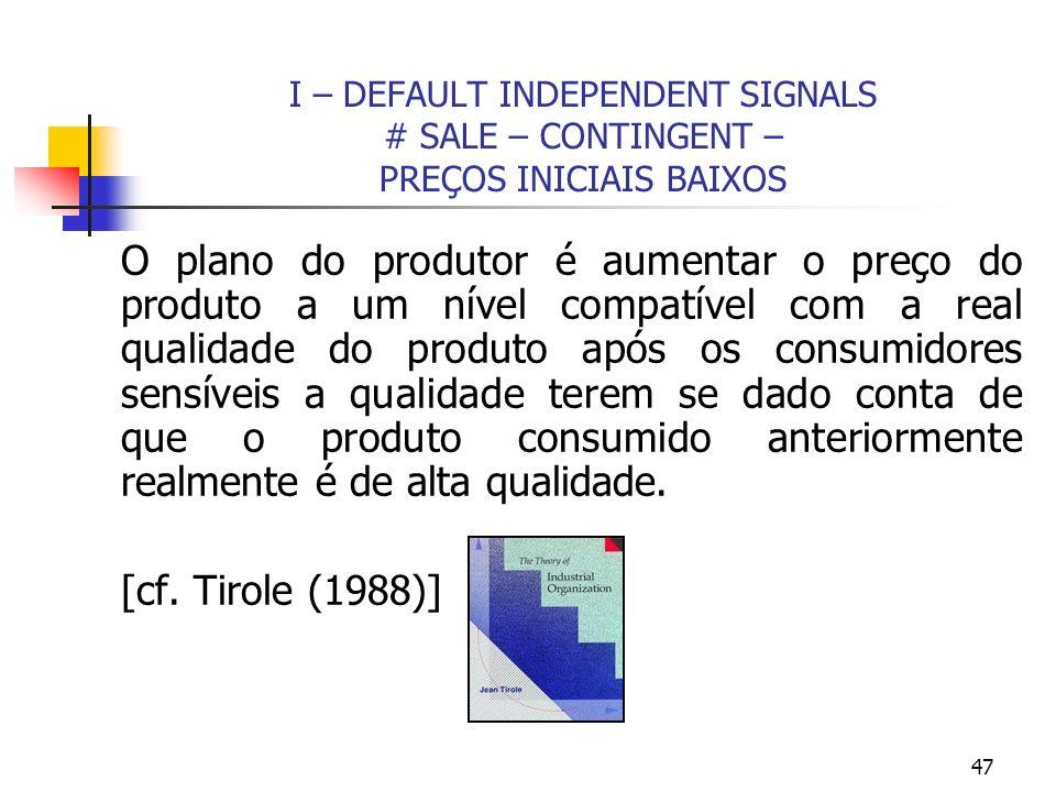 47 I – DEFAULT INDEPENDENT SIGNALS # SALE – CONTINGENT – PREÇOS INICIAIS BAIXOS O plano do produtor é aumentar o preço do produto a um nível compatíve