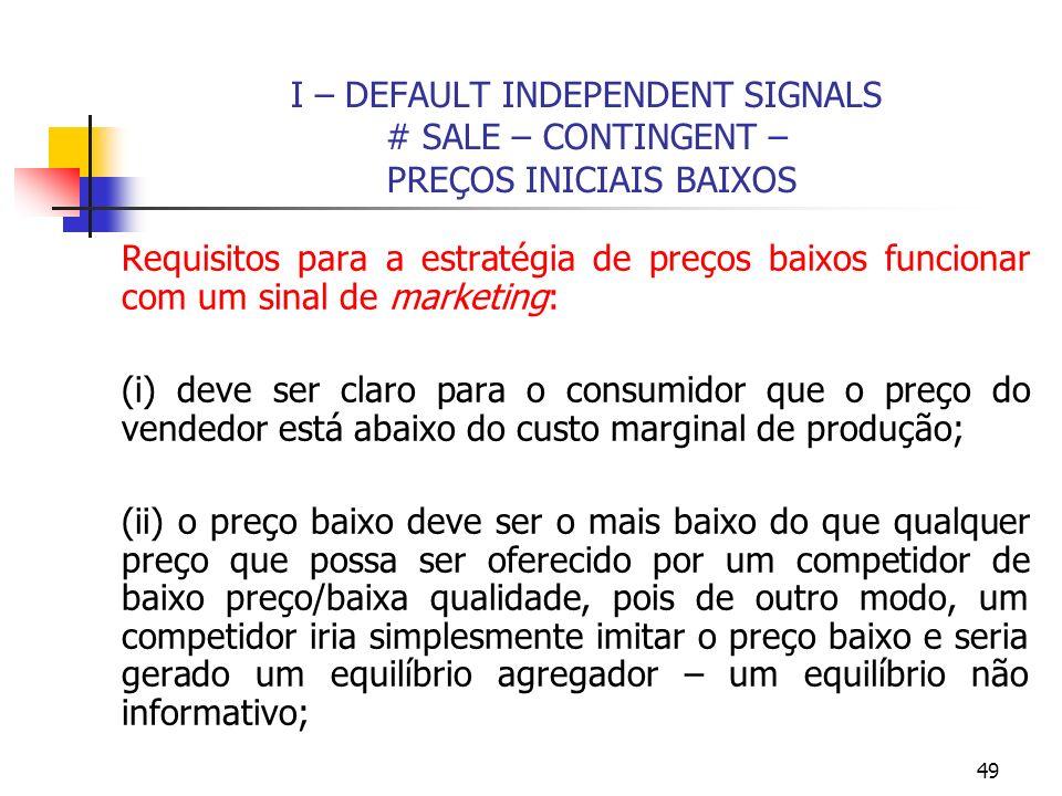 49 I – DEFAULT INDEPENDENT SIGNALS # SALE – CONTINGENT – PREÇOS INICIAIS BAIXOS Requisitos para a estratégia de preços baixos funcionar com um sinal d