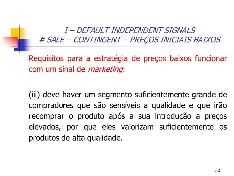 50 I – DEFAULT INDEPENDENT SIGNALS # SALE – CONTINGENT – PREÇOS INICIAIS BAIXOS Requisitos para a estratégia de preços baixos funcionar com um sinal d