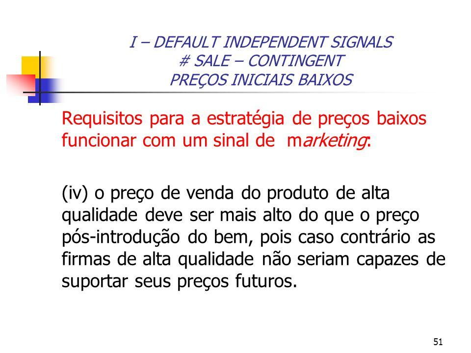 51 I – DEFAULT INDEPENDENT SIGNALS # SALE – CONTINGENT PREÇOS INICIAIS BAIXOS Requisitos para a estratégia de preços baixos funcionar com um sinal de
