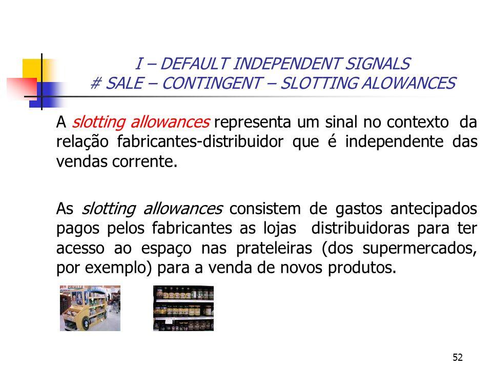 52 I – DEFAULT INDEPENDENT SIGNALS # SALE – CONTINGENT – SLOTTING ALOWANCES A slotting allowances representa um sinal no contexto da relação fabricant