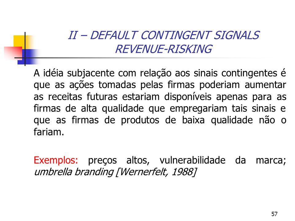57 II – DEFAULT CONTINGENT SIGNALS REVENUE-RISKING A idéia subjacente com relação aos sinais contingentes é que as ações tomadas pelas firmas poderiam