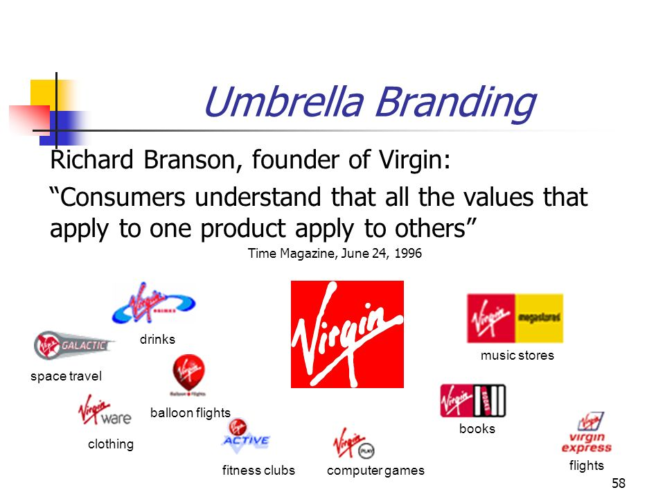 58 Umbrella Branding Richard Branson, founder of Virgin: Consumers understand that all the values that apply to one product apply to others Time Magaz