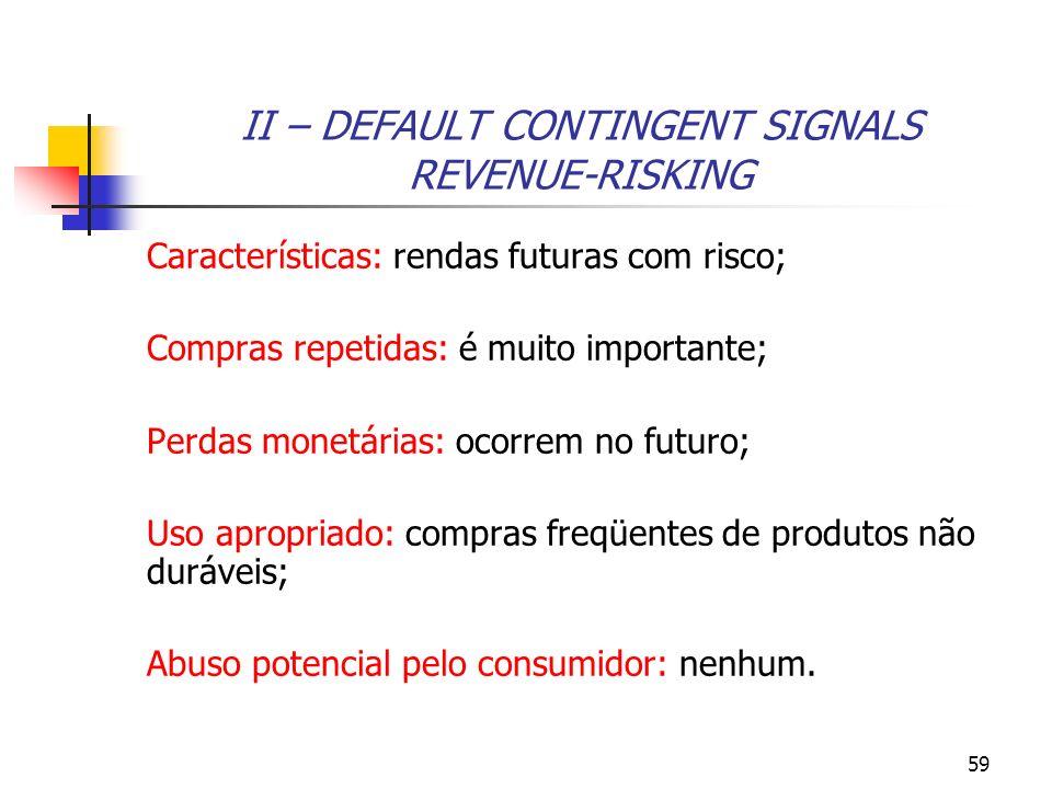 59 II – DEFAULT CONTINGENT SIGNALS REVENUE-RISKING Características: rendas futuras com risco; Compras repetidas: é muito importante; Perdas monetárias