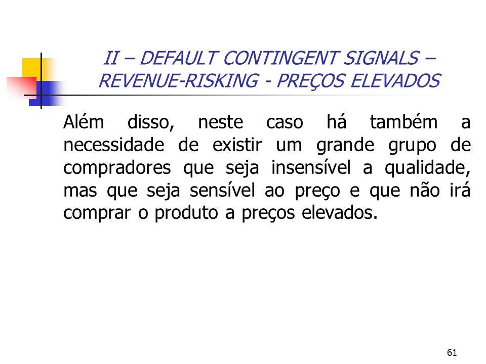 61 II – DEFAULT CONTINGENT SIGNALS – REVENUE-RISKING - PREÇOS ELEVADOS Além disso, neste caso há também a necessidade de existir um grande grupo de co