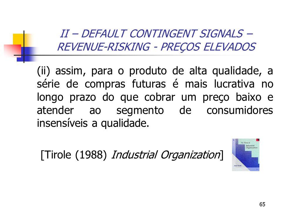65 II – DEFAULT CONTINGENT SIGNALS – REVENUE-RISKING - PREÇOS ELEVADOS (ii) assim, para o produto de alta qualidade, a série de compras futuras é mais