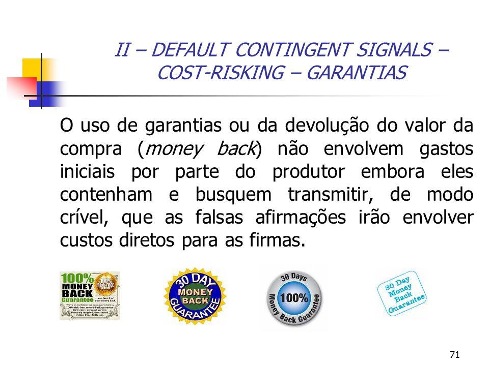 71 II – DEFAULT CONTINGENT SIGNALS – COST-RISKING – GARANTIAS O uso de garantias ou da devolução do valor da compra (money back) não envolvem gastos i