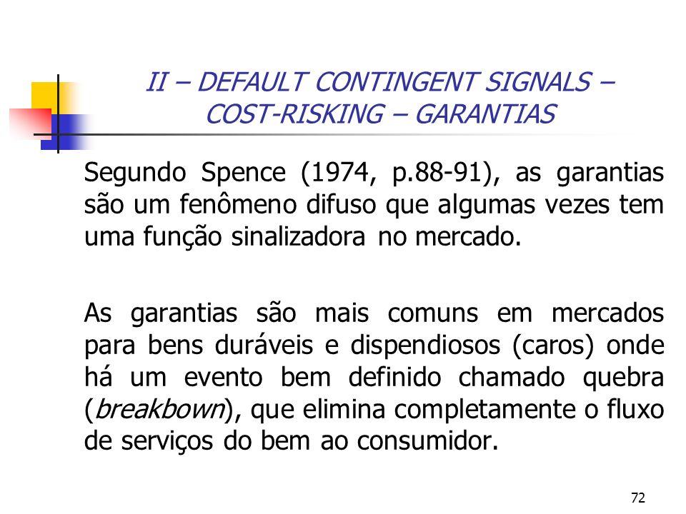 72 II – DEFAULT CONTINGENT SIGNALS – COST-RISKING – GARANTIAS Segundo Spence (1974, p.88-91), as garantias são um fenômeno difuso que algumas vezes te