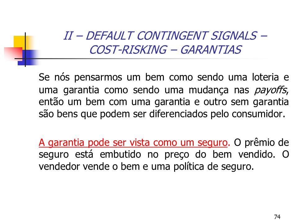 74 II – DEFAULT CONTINGENT SIGNALS – COST-RISKING – GARANTIAS Se nós pensarmos um bem como sendo uma loteria e uma garantia como sendo uma mudança nas