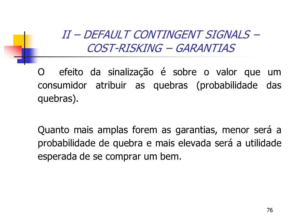 76 II – DEFAULT CONTINGENT SIGNALS – COST-RISKING – GARANTIAS O efeito da sinalização é sobre o valor que um consumidor atribuir as quebras (probabili