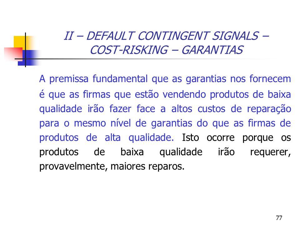 77 II – DEFAULT CONTINGENT SIGNALS – COST-RISKING – GARANTIAS A premissa fundamental que as garantias nos fornecem é que as firmas que estão vendendo